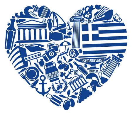 vasi greci: Con l'amore per la Grecia Vettoriali