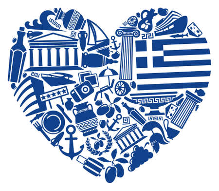 greece flag: With love to Greece Illustration