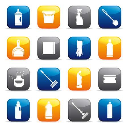 zwabber: Knoppen met de apparatuur voor het reinigen Stock Illustratie