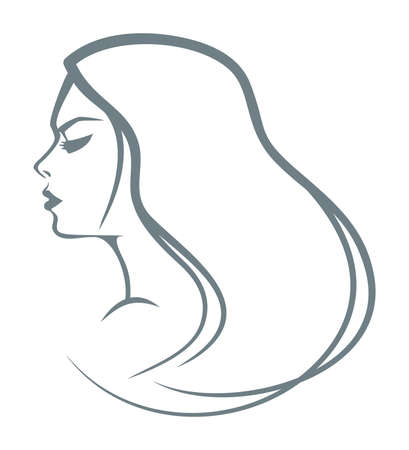 Portrait of the girl with long hair Vector