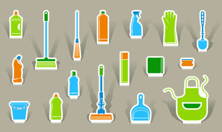 cleaning products: Icons of accessories and means for cleaning Illustration