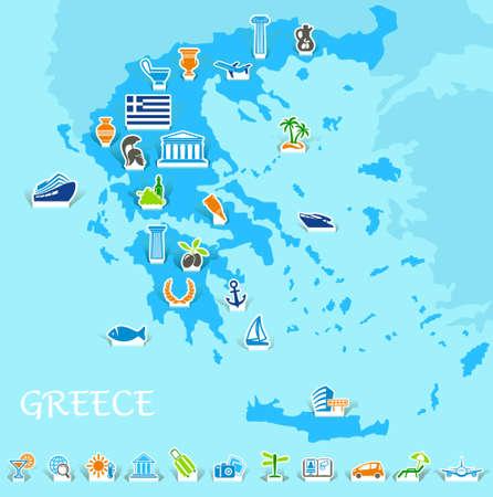 antigua grecia: Grecia mapa con iconos de los símbolos griegos y los viajes Vectores
