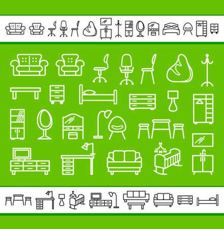 tv room: Furniture icons set Illustration