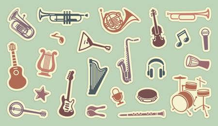 arpa: Pegatinas de instrumentos musicales Vectores