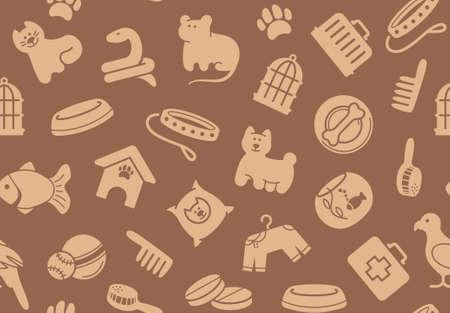 druckerei: Haustiere k�mmern nahtlose Hintergrund Illustration