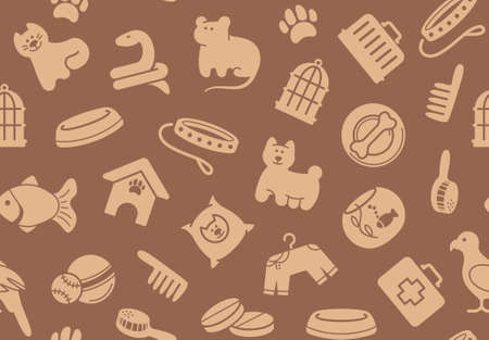 toy shop: Pets care seamless background Illustration