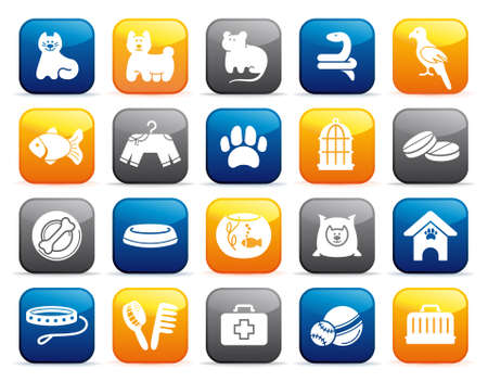 animals and pets: Pets care icon set on buttons