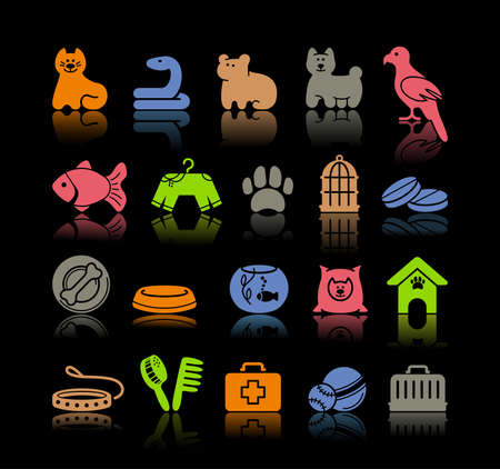 toy shop: Pets care icon set