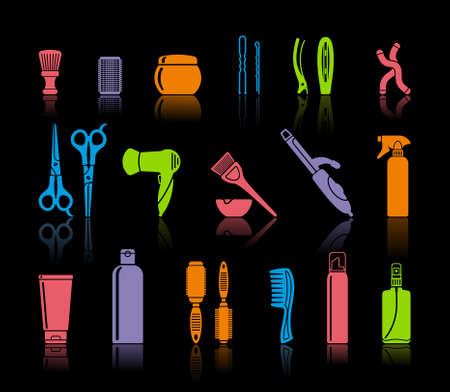group of objects: Set Van Hairdressing Accessoires Stock Illustratie