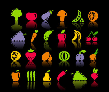 Icons of vegetables and fruit Stock Vector - 20172499