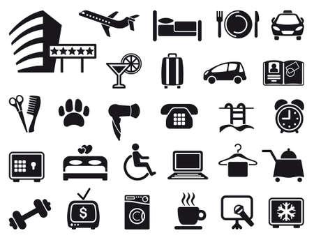 cama: Icono de un tema de servicio de hotel