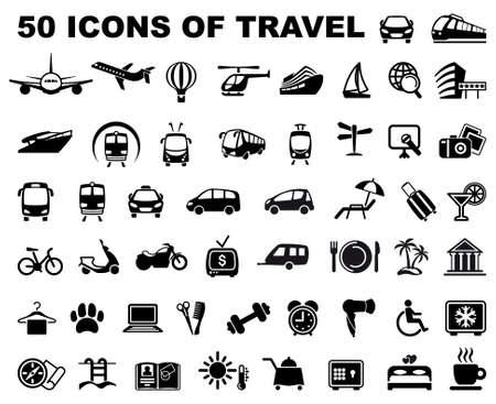 black icons: Icons of travel and trips Illustration