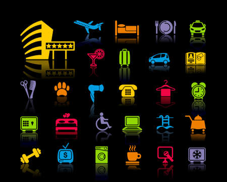 Icons on a hotel theme Vector