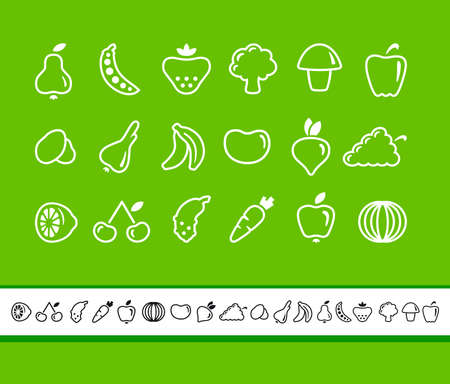 healthful: Icons of fruit and vegetables