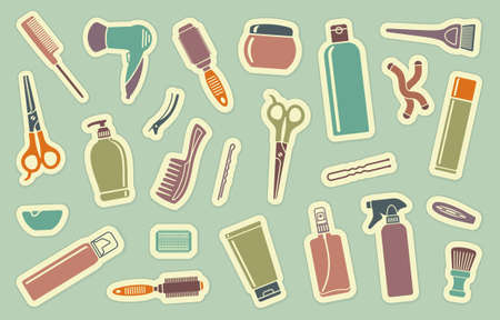hairpin: Hairdresser s accessories on stickers Illustration