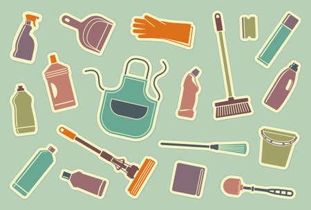 cleaning products: Iconos de limpieza Vectores