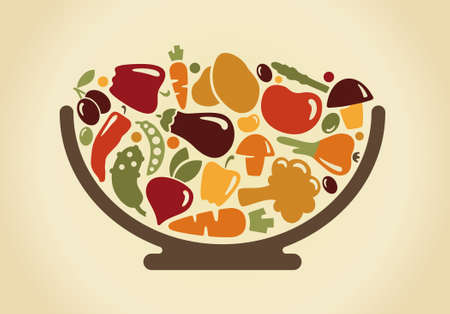 ciotola: Ciotola con le verdure Vettoriali