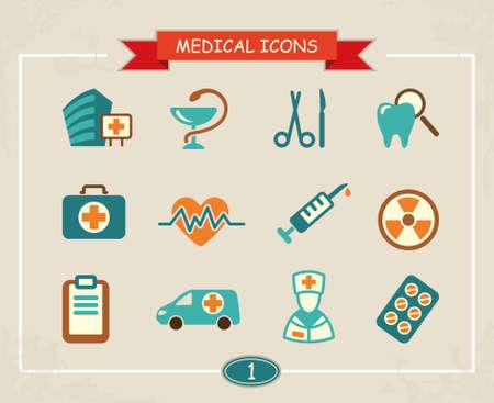 emergency kit: Medical icons Illustration