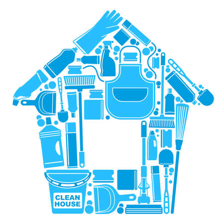 house chores: Symbols of a clean house