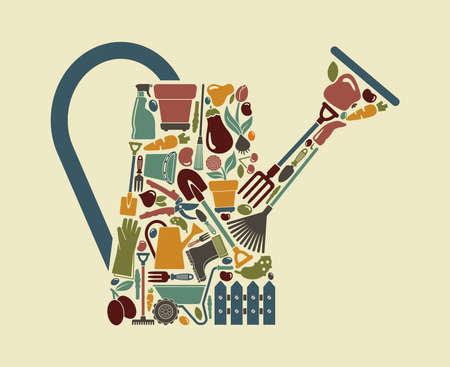 carretilla: Símbolo Jardín Vectores
