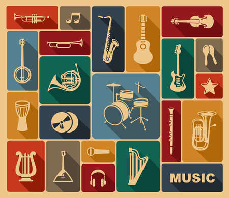 jazz drums: Silhouettes of musical instruments