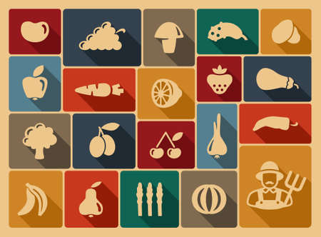 grapes and mushrooms: Vegetables and fruit icons  Illustration