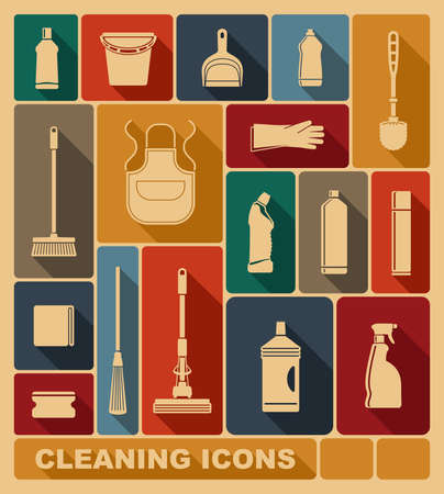productos de limpieza: Iconos de limpieza Vectores