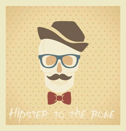 Human skull with   1072; accessories in hipster style Vector