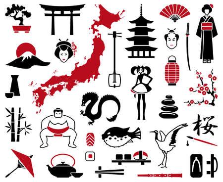 日本: 日本のアイコン  イラスト・ベクター素材