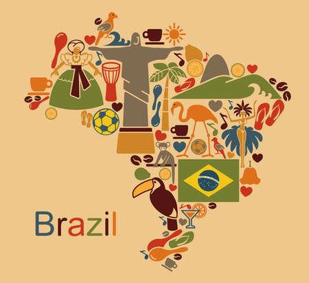 america del sur: Mapa de los símbolos tradicionales de la cultura y la naturaleza de Brasil Vectores