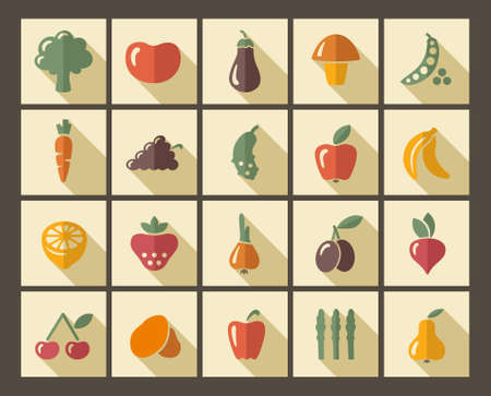 Icons of fruit and vegetables Vector