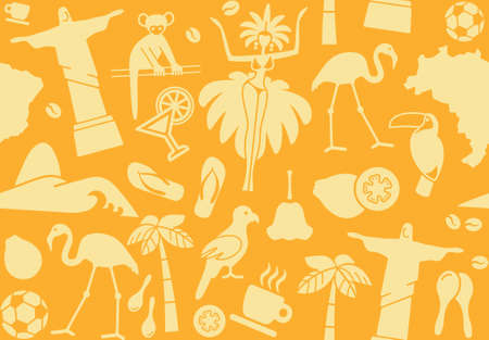 Seamless background on a theme of Brazil Vector