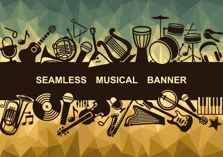 Seamless musical banner Vector