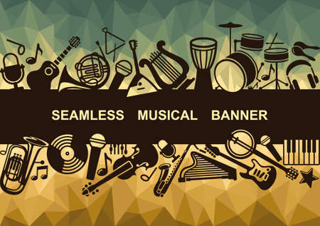 musical instrument symbol: Seamless musical banner