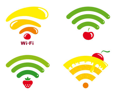 wi fi icon: Wi-fi icons with symbols of fruit and sweets Illustration