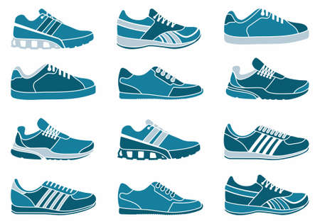 corriendo: Calzado deportivo Vectores