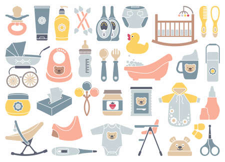 cradle: Icons of products for newborns