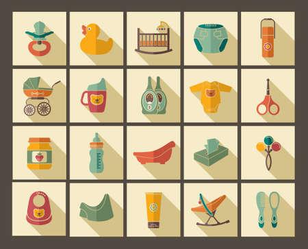 recien nacido: Iconos de los productos para los recién nacidos Vectores