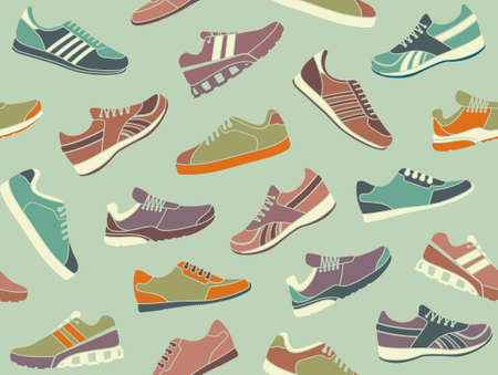clip art feet: Seamless background from images sport shoes