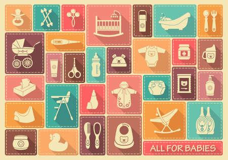 sonaja: Iconos de los productos para los recién nacidos Vectores