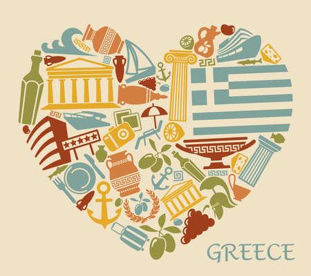 vasi greci: Simboli della Grecia sotto forma di cuore Vettoriali