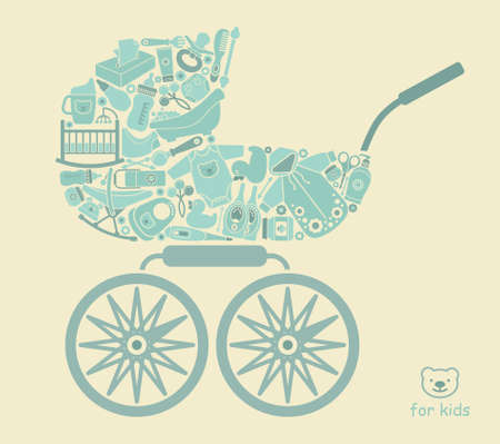 feeding bottle: Icons of products for babies In the form of a stroller Illustration