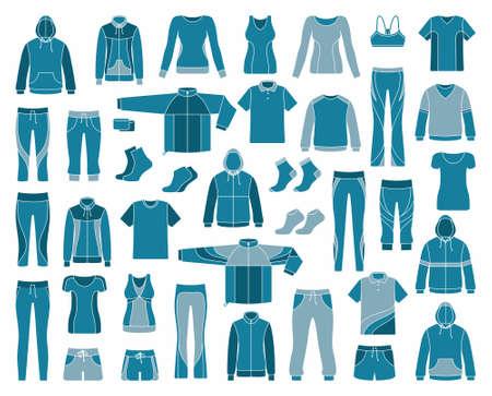 casual clothes: Iconos de la ropa de deportes y entrenamientos Vectores