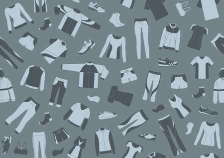 garment: Seamless pattern with sportswear and sports shoes