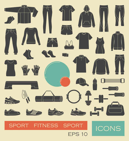 sports icon: Sports clothing, equipment and accessories Illustration