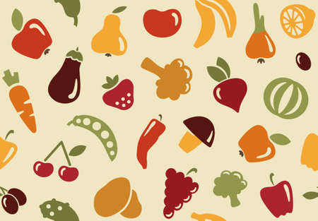 veggie: Seamless background with vegetables and fruits in retro style