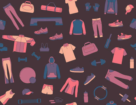apparel: Seamless background with clothes and accessories for fitness