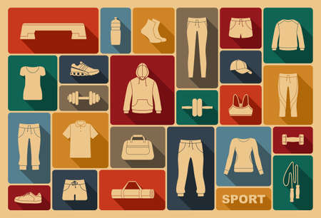 sports equipment: Sports clothing, equipment and accessories Illustration