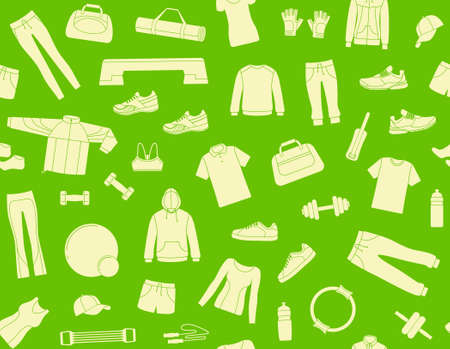 at leisure: Seamless background with clothes and accessories for fitness