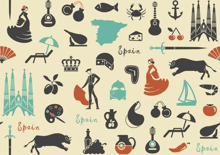 cartoon ham: Seamless background with traditional symbols of Spain